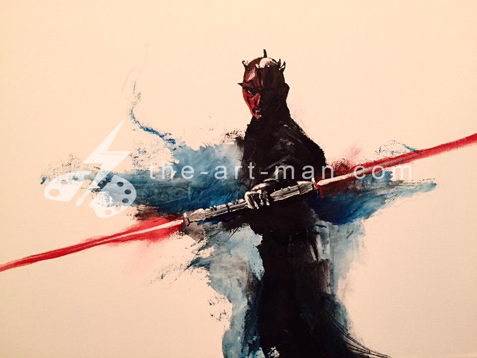 darth, maul, starwars, acrylics, painting, art, artwork, ocean, beach, landscape, landscapes
