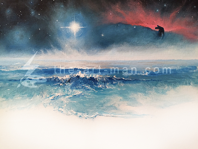 nebula, stars, acrylics, painting, art, artwork, ocean, beach