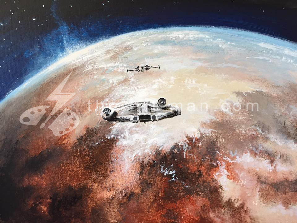 starwars, tattoine, millennium falcon, acrylics, painting, art, artwork, ocean, beach, landscape, landscapes