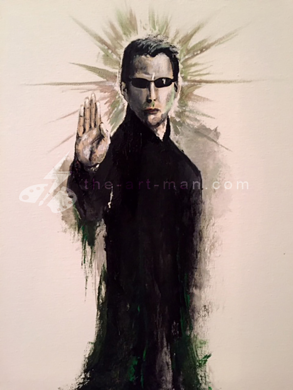 neo, sci-fi, matrix, keanu, acrylics, painting, art, artwork, ocean, beach, landscape, landscapes