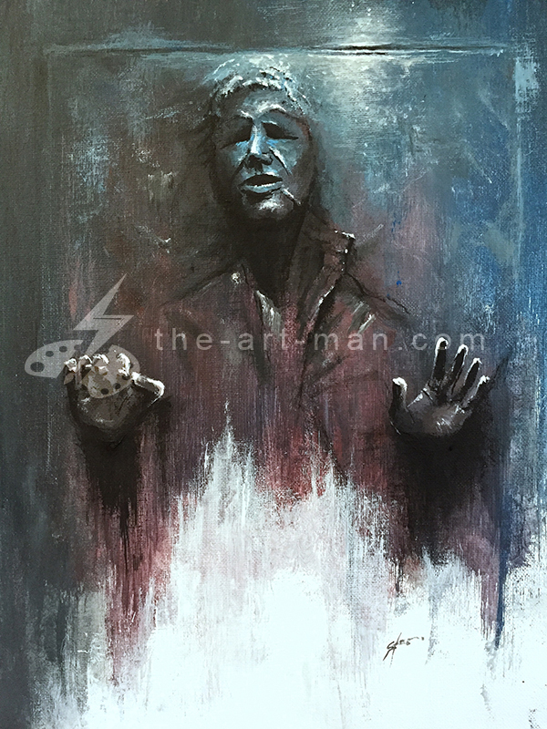 han solo, carbonite, frozen, sci-fi, starwars, acrylics, painting, art, artwork, ocean, beach, landscape, landscapes