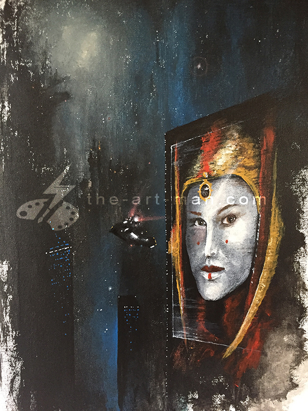 natalie portman, blade runner, starwars, spinner car, acrylics, painting, art, artwork, ocean, beach, landscape, landscapes